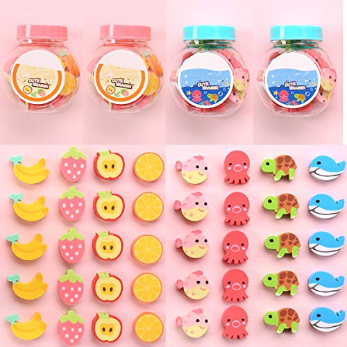 LSHDXD 80pcs Sea Animal Erasers Fruit Erasers Assorted Erasers Mini Erasers Assortment forParty Favors Carnivals Games Prize Christmas Stocking Stuffers and Kids School Supplies, Classroom Incentive
