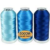 New brothread Conjunto de 3 Diferentes Azul Colores Poliéster Bordado Máquina Hilo Grande Carrete 5000M para Todas Las máquinas de Bordado