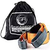 GearAmerica Mega Tree Saver Winch Strap 4' x10'   Ultra Heavy Duty 45000 lbs (22.5 US Tons) Strength   Triple Reinforced Loops + Protective Sleeves   Emergency Truck Towing   Free Storage Bag + Strap