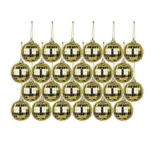 MeiBoAll 24pcs Small Mirror Disco Ball Gold Christmas Ball Ornaments Disco Light Mirror Ball with Hanging Ring,Christmas Ball Ornaments Tree Collection for Holiday Parties Wedding Decoration