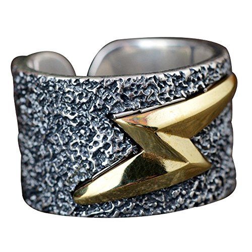 Anello The Flash Fulmine d'oro in Argento Sterling 990 Punk per Uomo Donna Regolabile 18-22