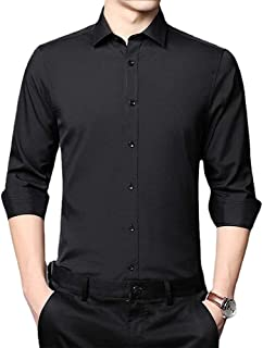 Mens Stretch Non-iron Anti-wrinkle Shirt, Business Slim Dress Shirts Casual Long Sleeve Untucked Regular Fit Shirts (Blac...