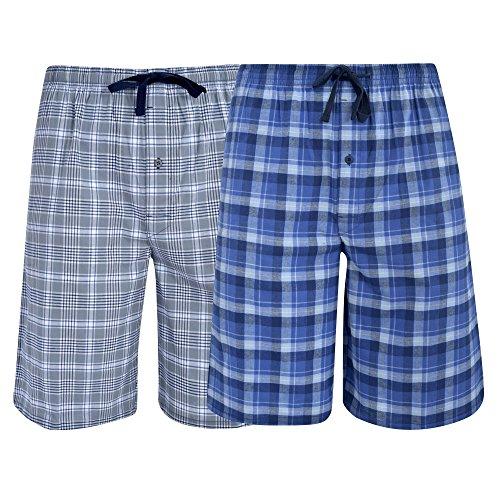 Hanes Men's  Big Men's Woven Stretch Pajama Shorts  2 Pack Blue  Grey Medium