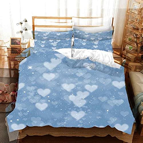 CSDRQU Fundas Nórdicas Cama Estampada Juego de Cama Suave Poliéster 150x200 cm Forma de corazón Azul Cielo con 1 Funda Nórdica Y 2 Funda De Almohada 50x75cm para Cama 90-130cm