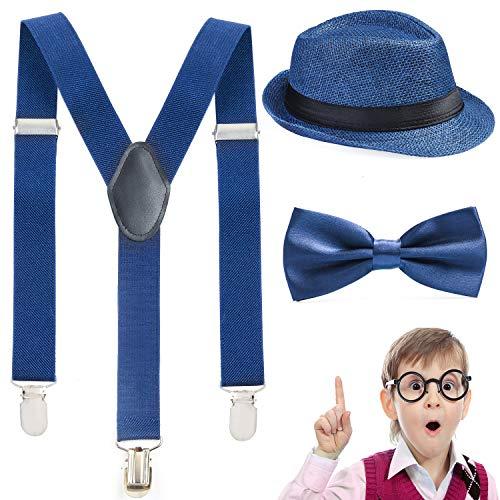 Beelittle Conjunto de Tirantes y Pajarita Fedora Hat niños, niños Ajustable en su Espalda para la Fiesta de 1920 (F)