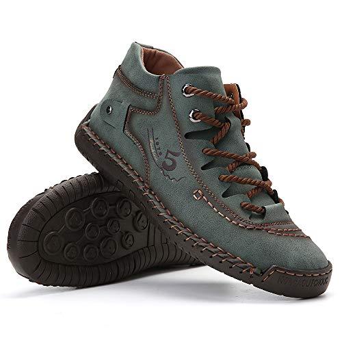 gracosy Zapatos de Cuero para Hombre Primavera High Top Planos Botines Casual Mocasines Zapatillas Artificial Transpirable Oxford Conducir Zapatos