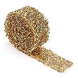 Rollo de cinta de diamantes 1 yarda 30mm Decoración de cinta de diamantes de imitación de cristal brillante para vestidos de fiesta Cinturón Apliques Pinza para el cabello Collar(cristal dorado)