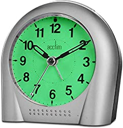 Non-Ticking Sweep Second Hand Loud Crescendo Alarm with Snooze feature Product Dimensions 10.6 x 6 x 10.6 cm Requires 3 x AA Batteries Back Light and Smartlite Constant Glow in the Dark Technology optional on off