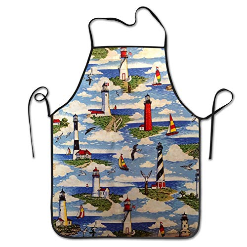 JUCHen Lighthouses Scene Big Sable Home Kitchen Bib Apron for Cooking, Grilling and Baking, Handmade, Gardening