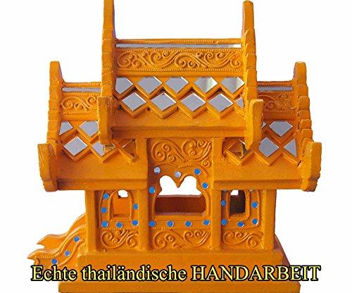 Wochentag Geburtstag Geisterhaus, Material Teak, Farbe Gelb für Montag geborene, ca. 27 cm hoch, Neu und Original aus Chiang Mai