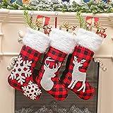 JJZXD 3 unids Bolsas de Regalo de la Media de Navidad Decoración de Navidad for el hogar Lager Soporte de Caramelo conjuntamente Calcetines (Color : A, Size : As The Picture Shows)