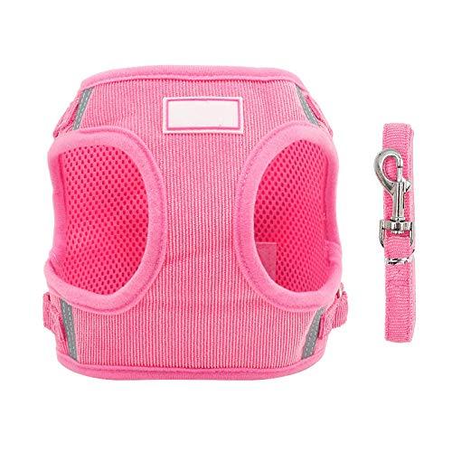 Arnés reflectante para perro ajustable pequeño y mediano tamaño perro pecho arnés perro perro perro collar caminar plomo suministros mascotas S / M / L / XL S rosa