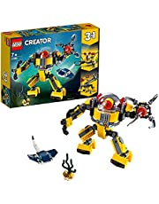 LEGO 31090 Creator 3in1 Underwater Robot Crane and Submarine, Seaside Adventures Building Set with Manta Ray Fish, Toys for Kids 7 Years Old and Older