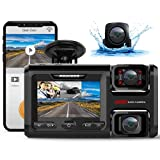 Pruveeo WiFi D40 Three and Dual Channel Dash Cam, Front Inside and Rear with Backup Camera, Dash Camera for Cars, 3.0 inch LCD, Night Vision, Supercapacitor, WiFi, G-Sensor, Loop Recording