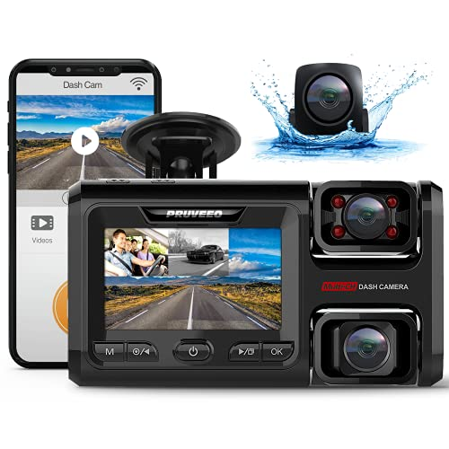 Pruveeo WiFi D40 Three and Dual Channel Dash Cam, Front Inside and Rear with Backup Camera, Dash...