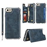 Copmob Funda iPhone 6/6S/7/8/SE2/SE 2020,Flip Cuero PU Billetera Funda,[4 Ranura][Hebilla magnética][Función de Soporte][Lanyard],Carcasa Cover Case para iPhone 6/6S/7/8/SE2/SE 2020 - Azul