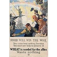 食品は戦争に勝つヴィンテージ第一次世界大戦WW1WWIUSA軍事宣伝ポスタープリントユニークなアートワーク-60x80cmフレームなし