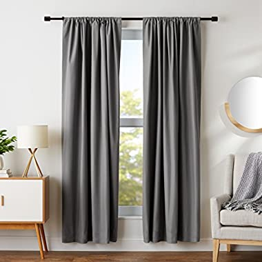 AmazonBasics Room Darkening Blackout Curtain Set - 52  x 84 , Dark Grey