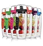 Laptone Wasserflasche, Kunststoff Trinkflasche Sportflasche ca.1L, Sportflasche Auslaufsicher, Trinkflaschen mit Verschluss & Tragehenkel für Fruchtschorlen/Gemüseschorlen - Schwarz