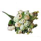 Alaso Fleurs Artificielles,Fausse Fleur, Bouquet de Pivoine, Artificiel Mariage Pivoine Bouquet avec 21 Tête Simulation Soie Fleur pour Maison Fête Mariage Table Décor