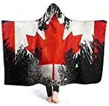 Canadian Flag Black and Red Mens Hooded Blanket Super Soft 50'x40' Flannel Blanket Hoodie Wearable Hooded Robe Hooded Cloak for Watching Movies