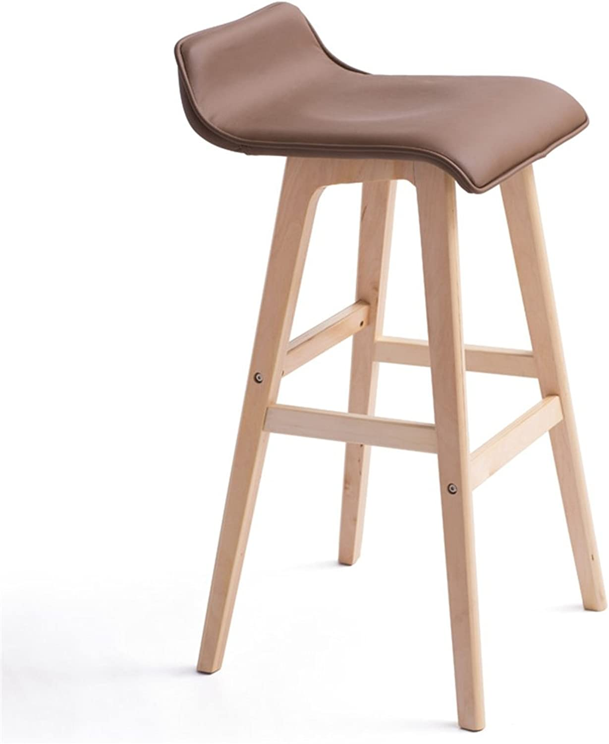 Chair Bar Chair Breakfast Home Chair Simple High Chair Solid Wood Frame Brown Seat (color   Wood color, Size   Height 65cm)
