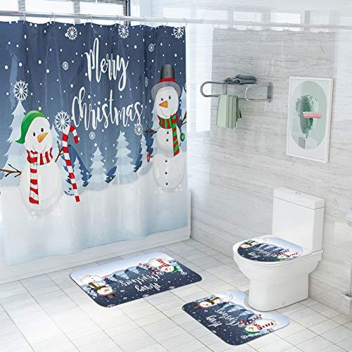UMMU wasserdichte Duschvorhang Square Boden Matte Toilettensitz Kissen Basismatte Badezimmer Vier-teiliges Gerät rutschfest, Weihnachtsdruck, Geeignet für Küche & Badez Candy Snowman