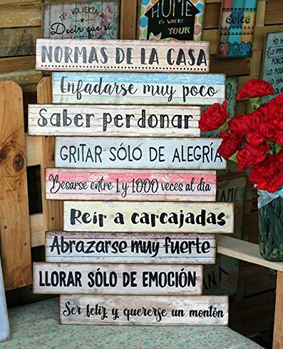 """Cuadro de madera con frases y mensajes positivos e inspiradores para decorar el hogar y regalar""""Normas de la casa"""""""