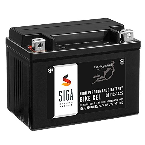 SIGA Gel Motorradbatterie 12V 12Ah 270A/EN Gel Batterie YTZ14-S GEL12-14ZS GTZ14-4 TTZ14S-4 51101
