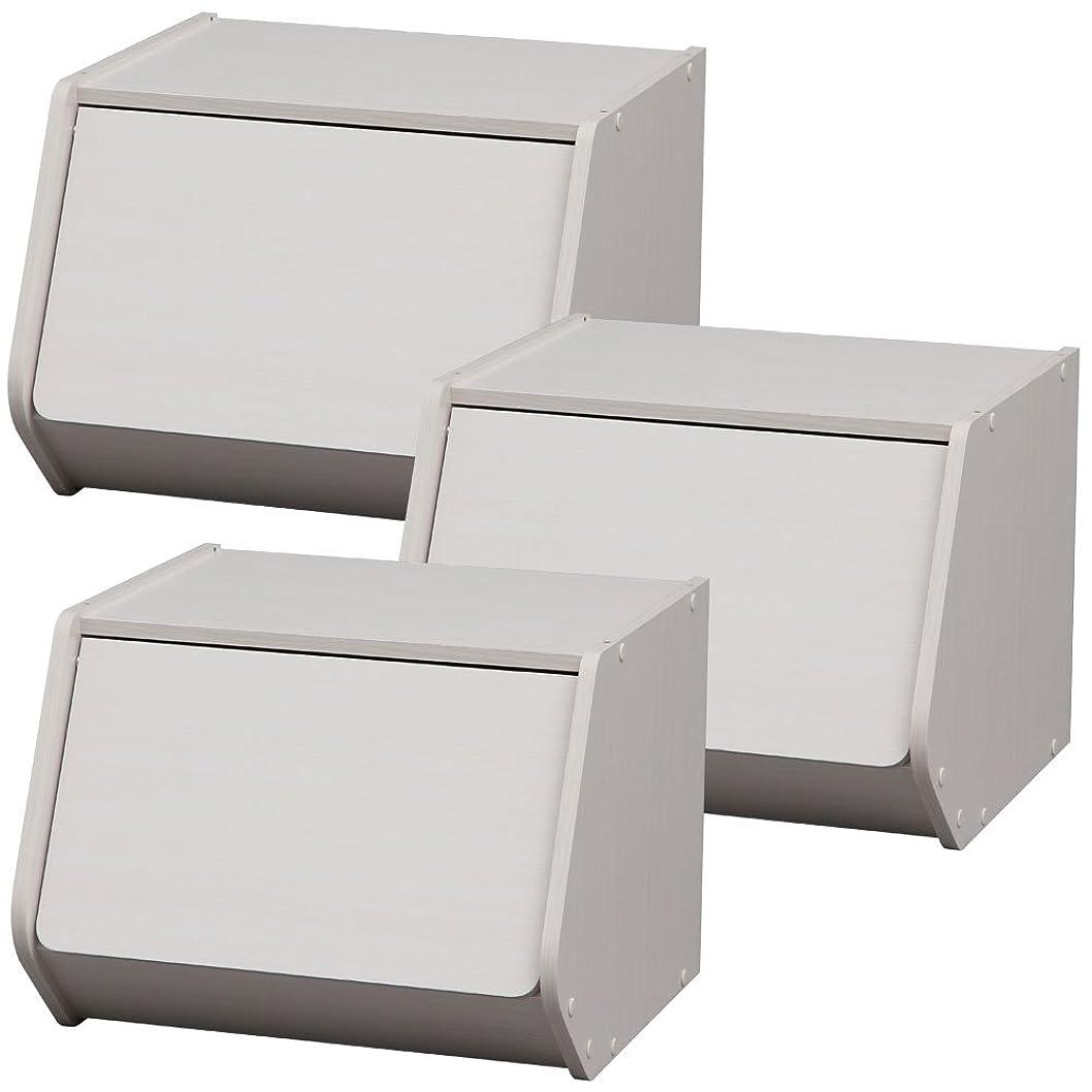 風刺タバコようこそアイリスオーヤマ スタックボックス 扉付き STB-400D オフホワイト×3個