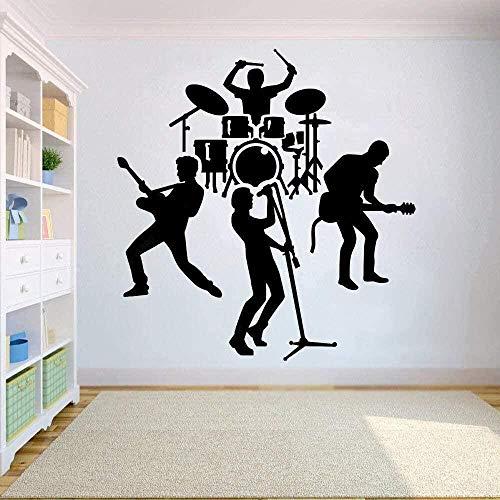Etiqueta de la pared de vinilo removible etiqueta de la pared banda de rock tambor guitarra decoración de la sala pegatina banda dormitorio decoración del aula 110x115cm
