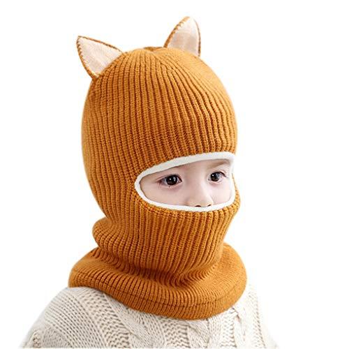 Beaums Cálido los niños del bebé de la Bufanda Conjoined la Historieta del Sombrero Gorrita Tejida del Invierno del niño Los bebés de Punto Sombrero Lindo