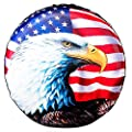 """Spare Tire Cover, Wheel Cover with American Flag Eagle PVC Leather Waterproof Dust-Proof Universal Fit for Jeep,Trailer, RV, SUV, Camper and Vehicle (15"""" for Diameter 27""""-29"""")"""