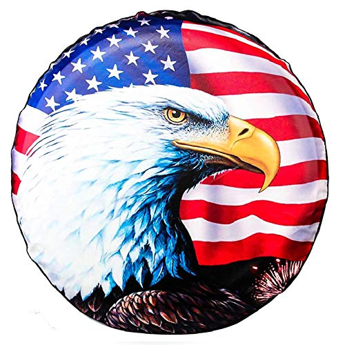Spare Tire Cover, Wheel Cover with American Flag Eagle PVC Leather Waterproof Dust-Proof Universal Fit for Jeep,Trailer, RV, SUV, Camper and Vehicle (16