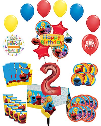 Sesame Street Party Supplies 2nd Birthday 8 Guest Table Decorations and Balloon Bouquet