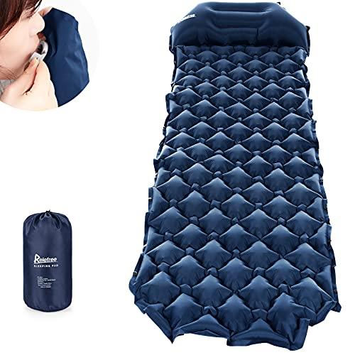 Relefree Colchoneta Camping, Colchón Hinchable Plegable Ultraligero para Acampar con La Almohada, Adecuado para Acampar y Viajar, Azul Marino