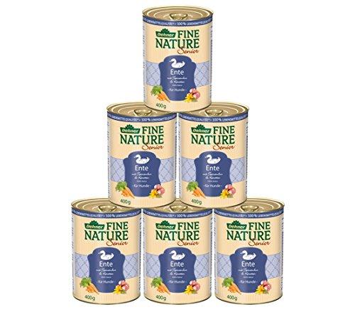 Dehner Fine Nature Hundefutter Senior, Lebensmittelqualität, Ente, 6 x 400 g (2,4 kg)