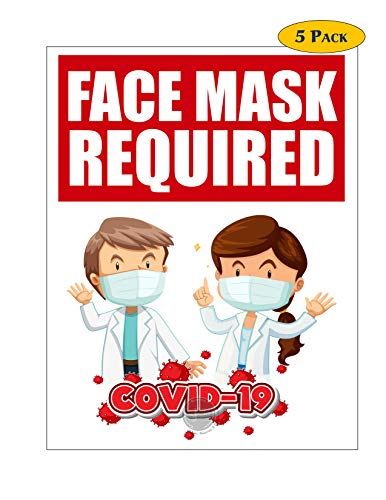 Face Mask Required Signs - Coronavirus Covid19 Sign Posters 5Pack (Laminated, 8.5'x11')