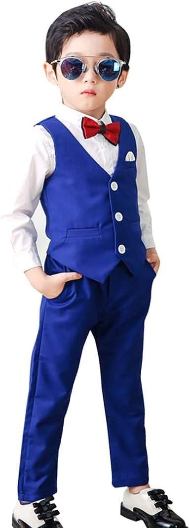 DAZISEN Conjunto de Traje Niños - Clásico Chalecos Pantalones Comunión Traje para Niño, Traje Ceremonia Niño, 3-8 años