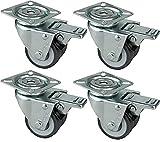 HRB Rollen mit Bremse 50 mm (4er Set Lenkrollen mit Bremse) rasengeeignete Strandkorbrollen mit Bremse Tragkraft 400 kg nutzbar als Rollen für Möbel, Palettenmöbel oder als Transportrolle, hochwertige Industrierolle