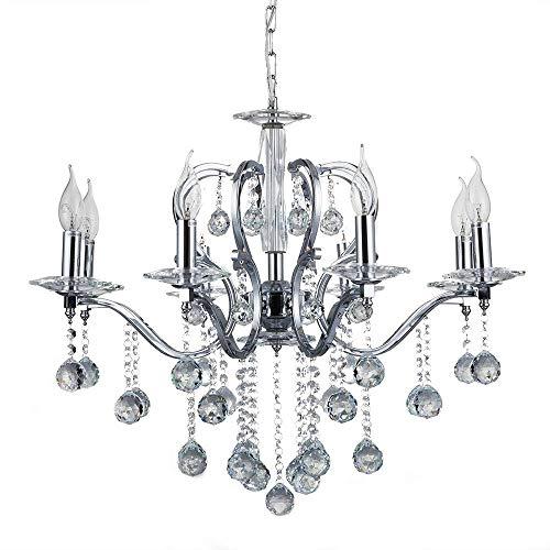 8 Verlichtingen Ophangende Kristallen Plafond Licht Kroonluchter met Grote Kralen Hanger voor Studie Kamer Kantoor, Eetkamer, Slaapkamer, Woonkamer