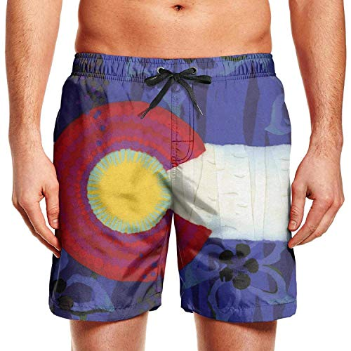 Jiger Colorado State Flag Poster Men's Swimming Trunks Slim Fit Swim Shorts for Men Plain Beach ShortsXL