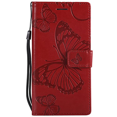 Sleep bear)Funda para Huawei P8 Lite, Mariposas Cuero de la PU Caja del Teléfono, Billetera del Movil Cubierta Carcasa+Stylus-Rojo