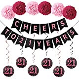 Girls 21st Birthday Party Decorations Supplies Kit - Rose Gold Cheers to 21 Years Banner, 6Pcs Celebration 21 Hanging Swirls, 6Pcs Poms - 21 Years Old Party 21th Anniversary Decorations