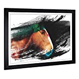 Big Box Art Framed Picture Print with Shire Horse V2 Design | Large Wall Art | Home Decor for Kitchen, Living, Dining Room, Bedroom, Hallway | A2 / 24.5 x 18 Inch | Black, 62 x 45 cm