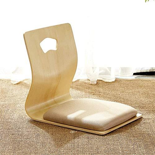 Vidsdere - Silla de madera japonesa para suelo, diseno ergonomico sin piernas con cojin suave y soporte trasero