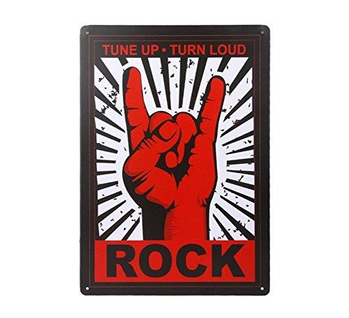 Placas de Pared, Arte de Cartel Póster Metal 20 * 30 CM Decoración de Coche Bar Café Tienda, Rock