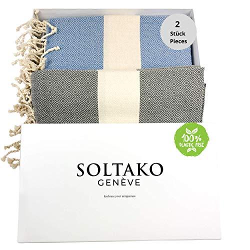 SOLTAKO XXL 2X Fouta Strandtuch Handtuch Saunatuch Badetuch Hamamtuch Yoga Decke Pestemal in Jeansblau & Pastellgrau Farben als 2er Geschenkset extra groß, 100 x 200 cm