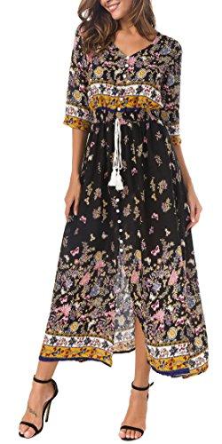 Kormei Damen Blumen Maxikleid Bohemien 3/4 Arm A-Linie Lang Kleider Sommerkleid Partykleid Schwarz&Gelb XL
