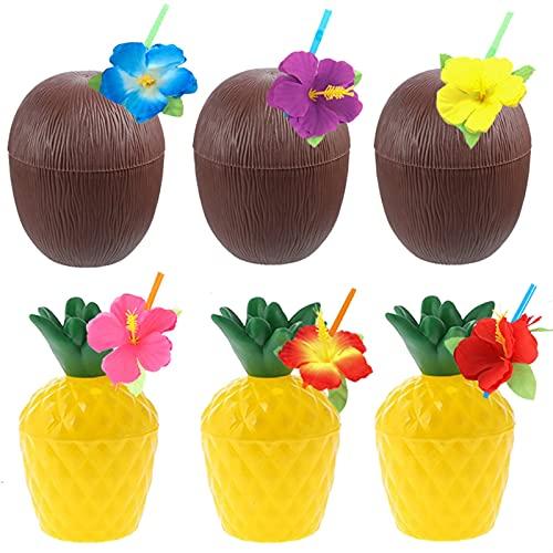 QFDM DIY Dekoration Ananaskokosnussbecher Saft-Tasse Party Dekoration Partydekoration (Color : 6Pcs Mix Cup Straw)